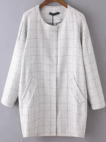 Light Grey Round Neck Plaid Pockets Coat