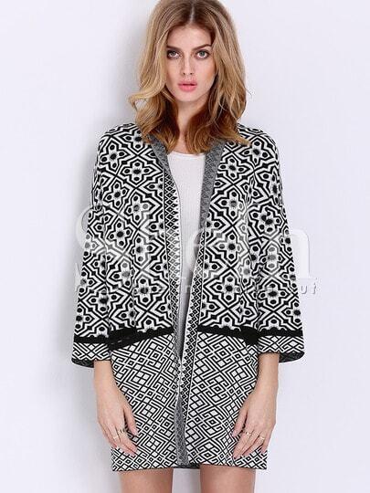 Black White Long Sleeve Geometric Print Cardigan Sweater