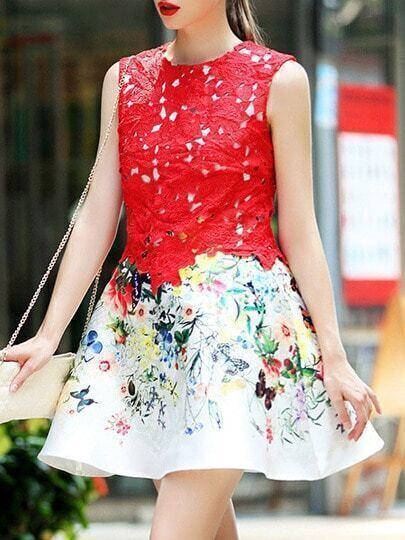 Red Round Neck Sleeveless Crochet Print Flare Dress