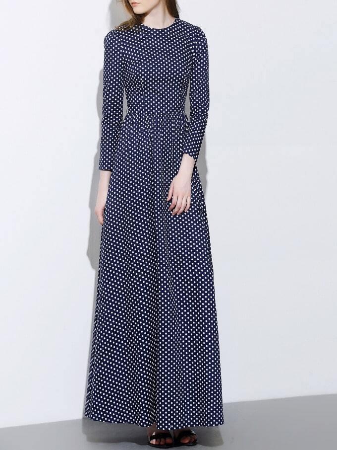 Navy Round Neck Length Sleeve Polka Dot Dress