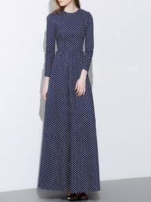 Navy Round Neck Length Sleeve Polka Dot Dress