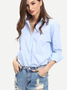 Blue Long Sleeve Lapel High Low Blouse