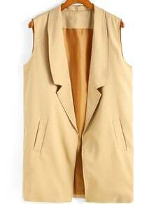 Notch Lapel Edge Pockets Apricot Vest