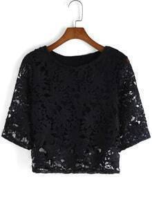 Black Lace Hollow Crop Top