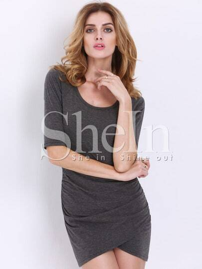 Grey Half Sleeve Ruched Wrap Front Rouched Dress