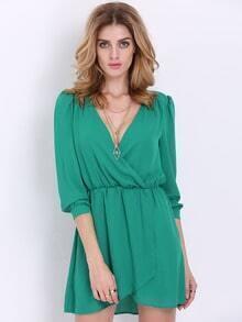 Green Kaftans Long Sleeve V Neck Wrap Fornt Dress