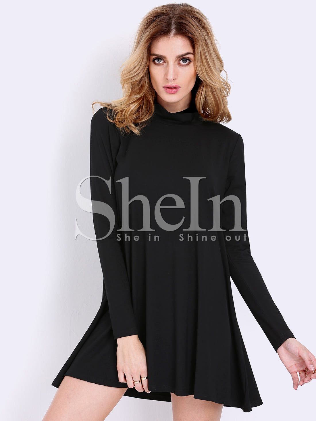 Black Pullover Long Sleeve Casual Dress -SheIn(Sheinside)