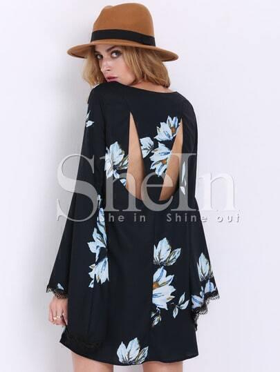 Black Long Sleeve Patterns Floral Print Dress