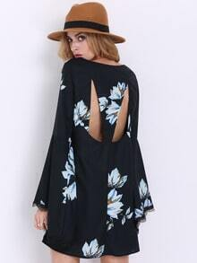 Black Long Sleeve Patterns Floral Print Dress