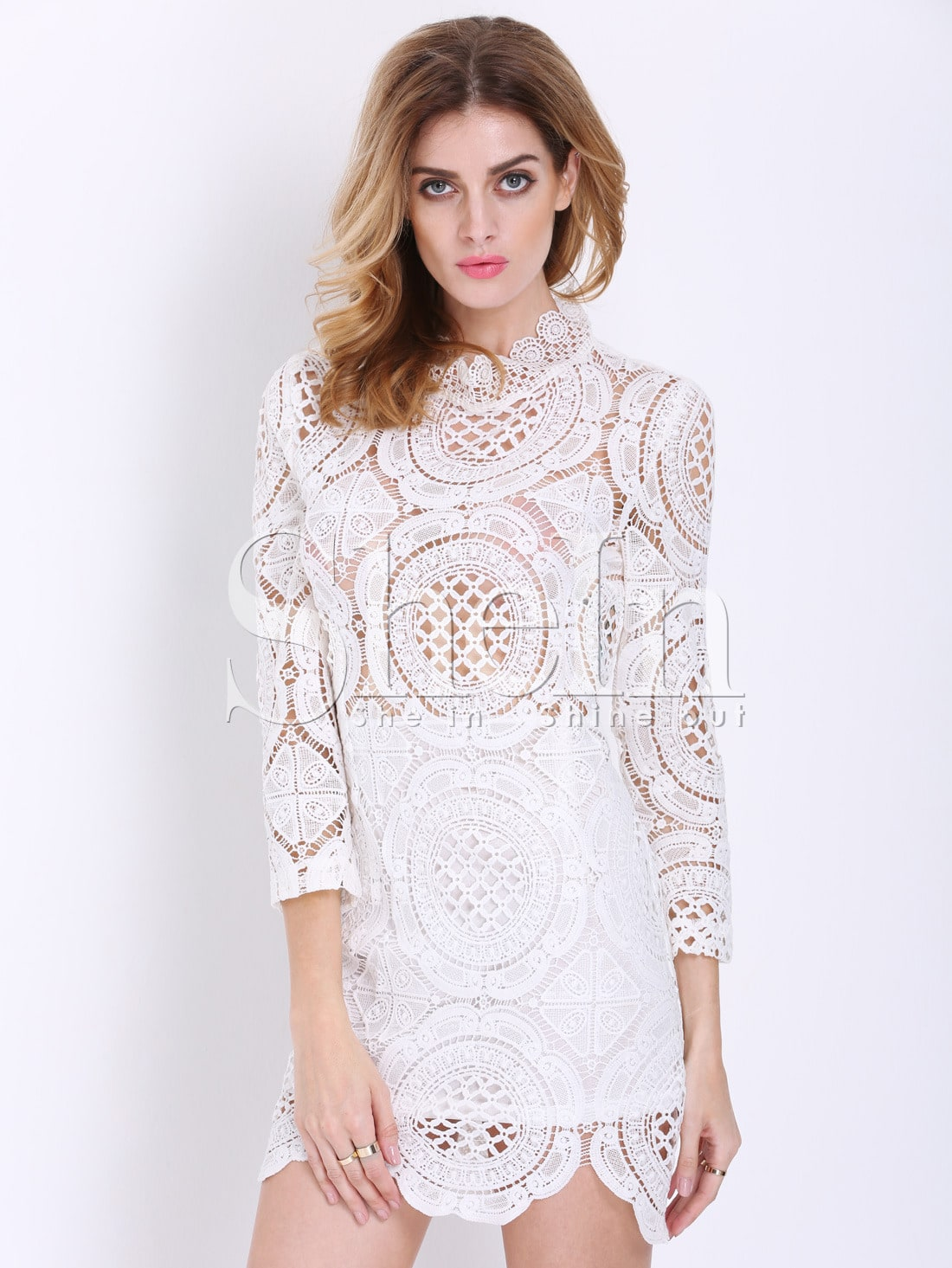 White Long Sleeve Hollow Lace Dress -SheIn(Sheinside)