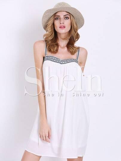 White Spaghetti Strap Backless Dress
