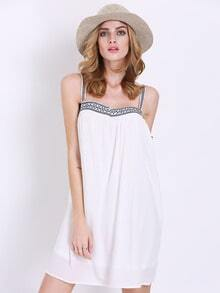 White Spaghetti Strap Backless Dress