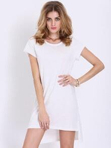 White Short Sleeve High Low T-shirt Dress
