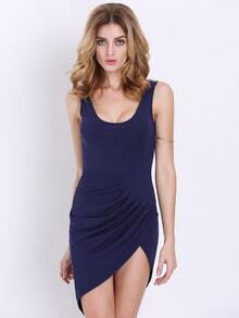 Navy Sleeveless Backless Asymmetric Dress