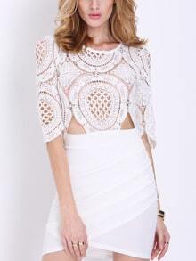 White Half Sleeve Lace Bodycon Dress