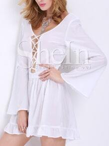 White Long Sleeve Ruffle Playsuit