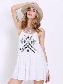 White Spaghetti Strap Tribal Dress