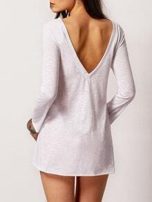 White Long Sleeve Open Back Trapeze Dress