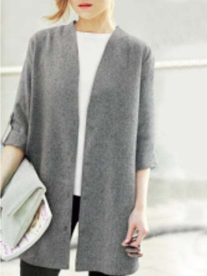 Grey Open Front Plus Coat