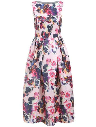Boatneck Lenght Sleeveless Florals Damask Flare Dress