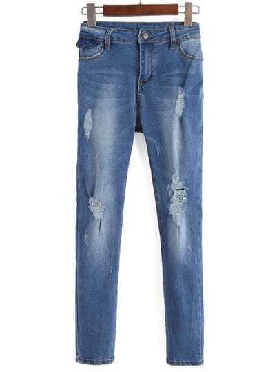 Blue Bleached Ripped Slim Denim Pant
