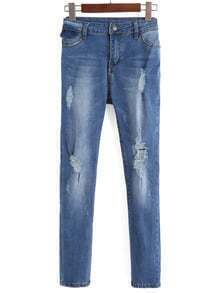 Blue Bleached Ripped Slim Denim Pant