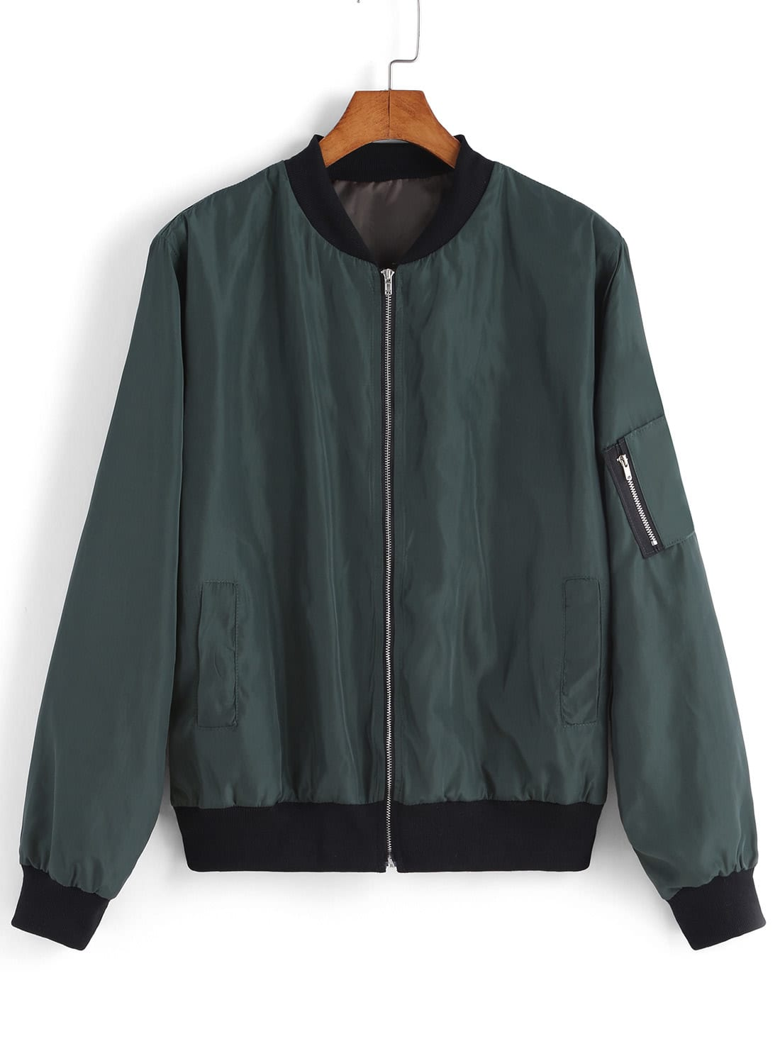 green stand collar zipper jacket sheinside