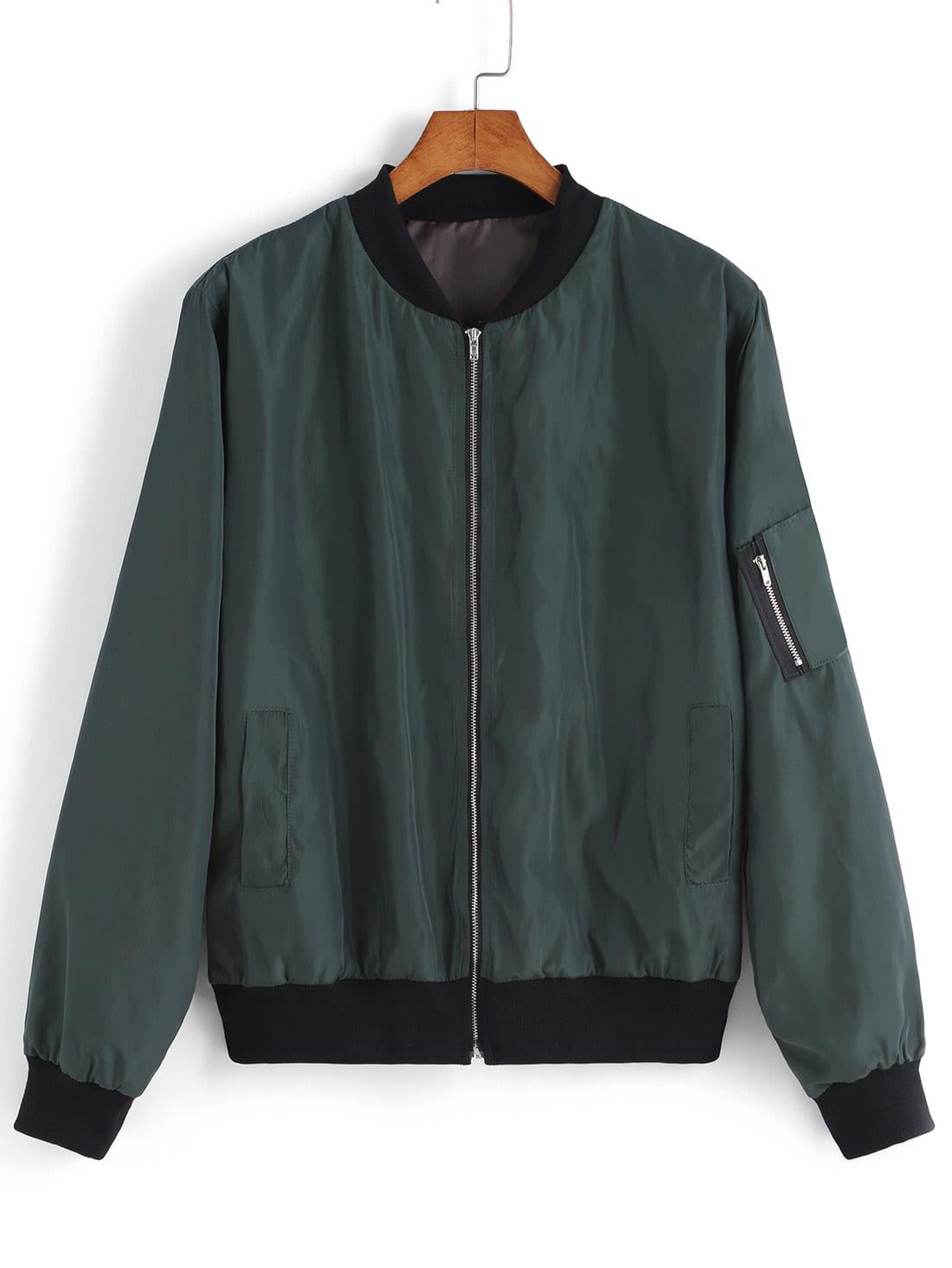 Green Stand Collar Zipper Jacket Shein Sheinside