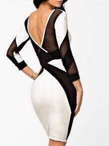 Vestido entallado manga larga -color combinado