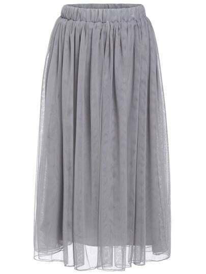 Grey Elastic Waist Multilayers Mesh Skirt