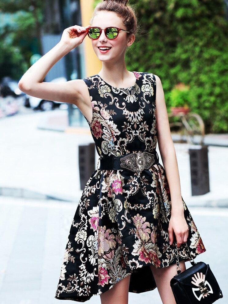 Black Round Neck Sleeveless Drawstring Embroidered High Low Dress