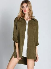 Army Green Lapel Dip Hem Pockets Blouse