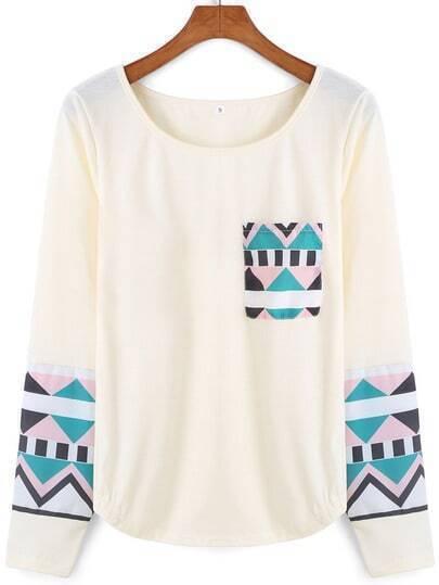 Beige Round Neck Geometric Print T-Shirt