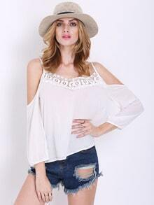 White Long Sleeve Off The Shoulder With Lace Blouse