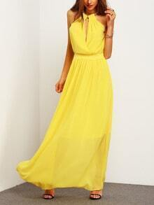 Yellow Lemon Sleeveless Halter Lipsy Flowy Occassions Elegance Maxi Dress