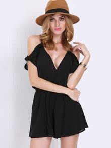 Black Spaghetti Strap Pleated Playsuit