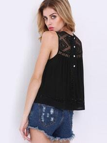 Black Sleeveless Hollow With Lace Tank Top