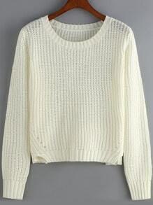 White Round Neck Hollow Crop Knit Sweater