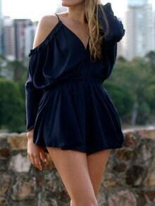 Royal Blue Off the Shoulder Loose Jumpsuit