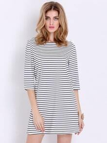 White Black Half Sleeve Striped Dress
