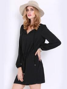 Black Overalls Long Sleeve V  Neck Dress