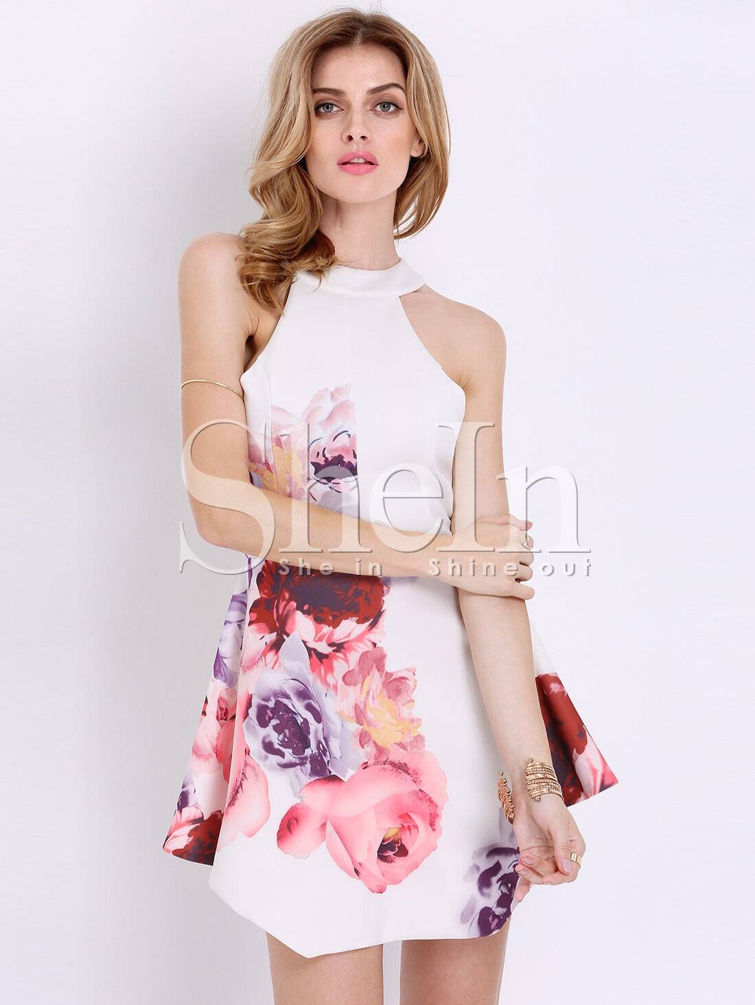 White Sleeveless Floral Modest Patterns Print Dress - Latest ...