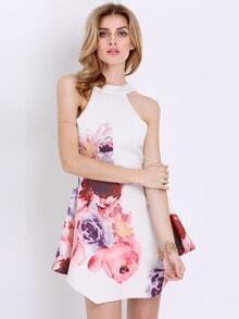 White Sleeveless Floral Painted Patterns Print Dress