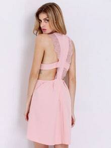 Pink Modest Sleeveless With Lace Dress