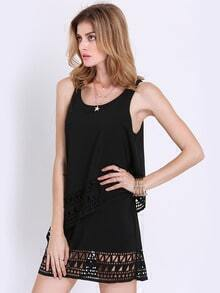 Black Sleeveless Hollow Ruffle Dress