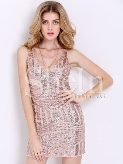 Gold Slipdresses Spaghetti Strap Glittering Glitzy Backless Sequined Dress
