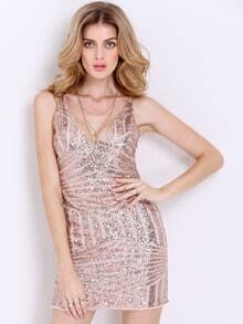 Gold Slipdresses Spaghetti Strap Glitzy Backless Sequined Dress