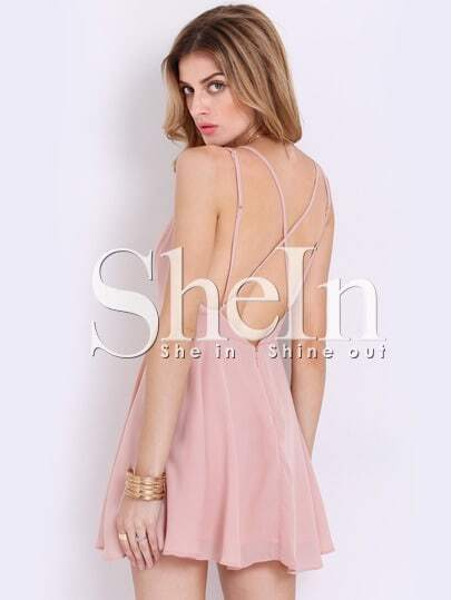 Pink Spaghetti Strap Cross Back Dress