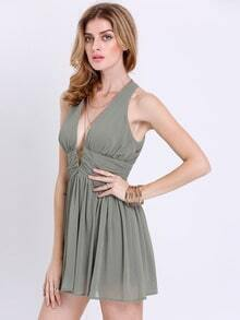 Green Deep V Neck Pleated Dress