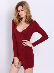 Wine Red Long Sleeve V Neck Elegantly Bodycon Dress